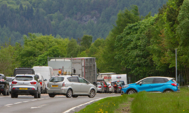 Traffic on the A9 near Dunkeld following the crash.