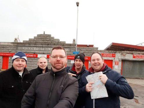 Dons fans Tony Mulloy, John Cruden, Iain Wood, Rod Lawman and Stewart Ingram