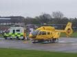 Air ambulance at Aberdeen Royal Infirmary