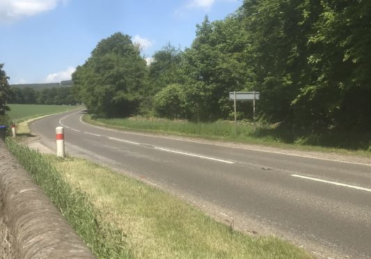 The scene of the crash on the A96 near Colpy