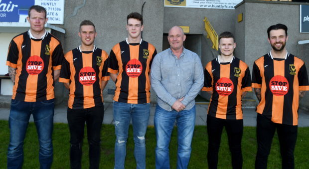 New player signings at Huntly FC. In the picture at Christie Park, Huntly are from left: Darren Wood, Chris Hay, Cory Ritchie, Charlie Charlesworth, manager, Zander Jack and Gary McGowan. Picture by Jim Irvine  24-5-18