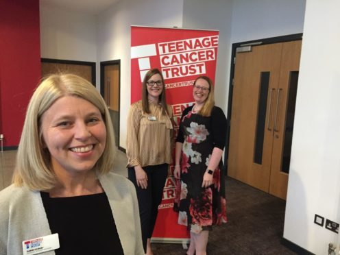Dawn Crosby (front) pictured with Aberdeen's new Teenage Cancer Trust nursing staff Diane Brands and Amanda Copland