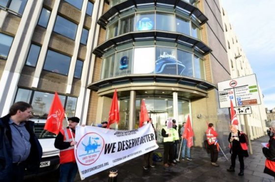 Members of the Unite Union protesting against North Sea catering employers in October 2015