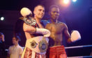 Lee McAllister, left, after his victory over Ishmael Tetteh at the Beach Ballroom