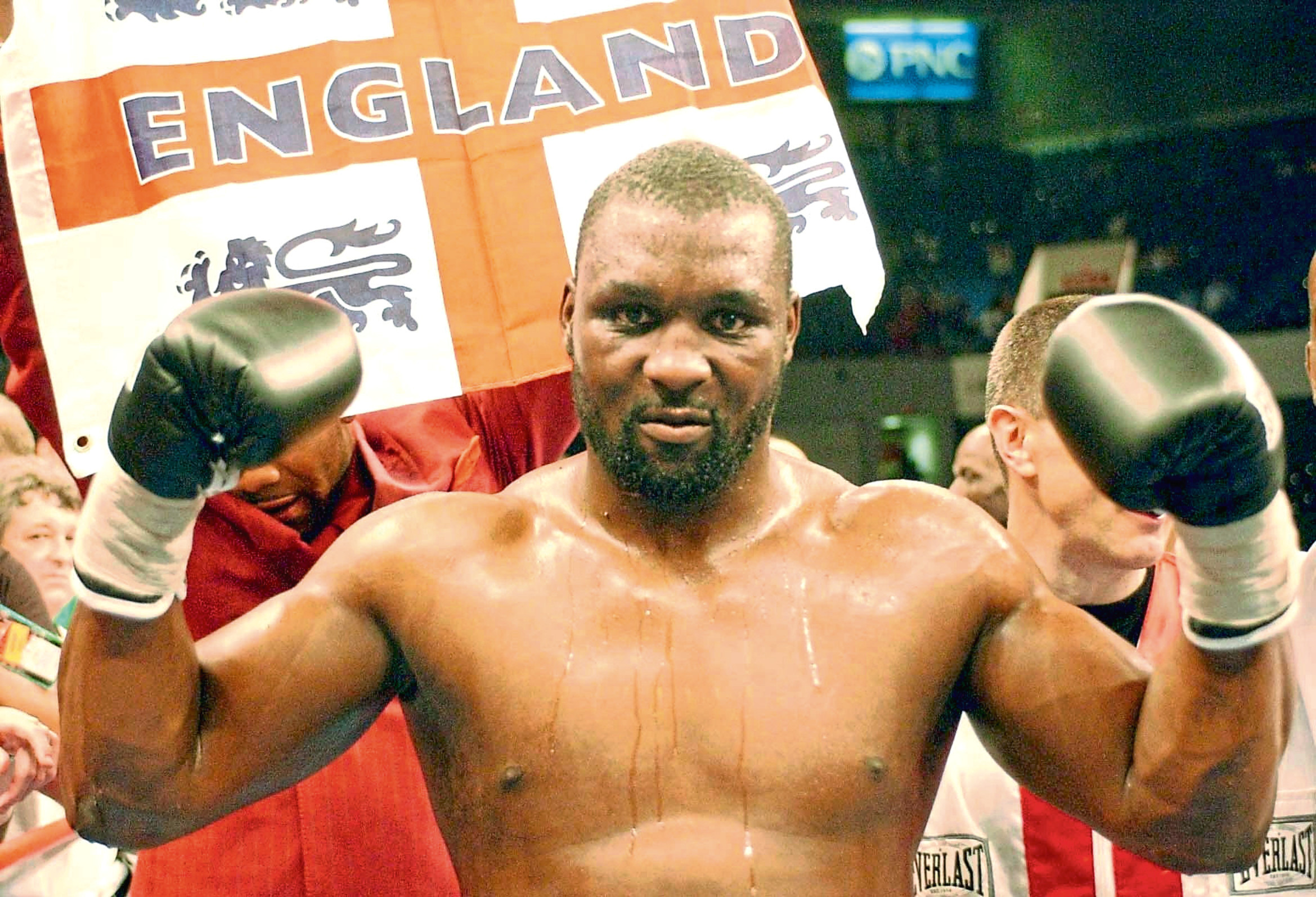 England's Danny Williams celebrates after his victorious heavyweight contest with America's Mike Tyson at the Freedom Hall in Louisville, Kentucky, USA Friday July 30 2004.