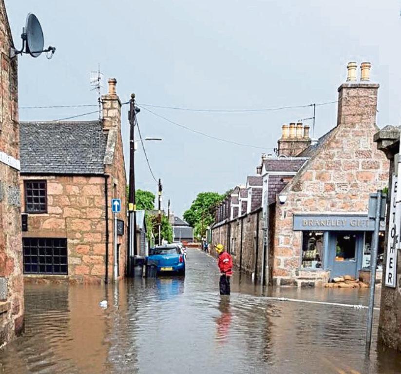 Bridge Street in Ballater was hit by flash floods