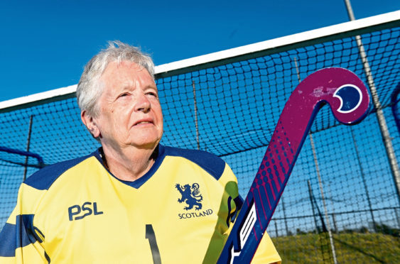Pictured is Sheila Reid, a 75-year-old hockey goalie from Aberdeen has been selected to play for Scotland in the Hockey Grand Masters World Cup in Barcelona next month. Picture by Darrell Benns