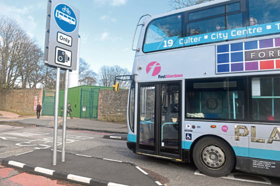 The bus gate on Bedford Road.