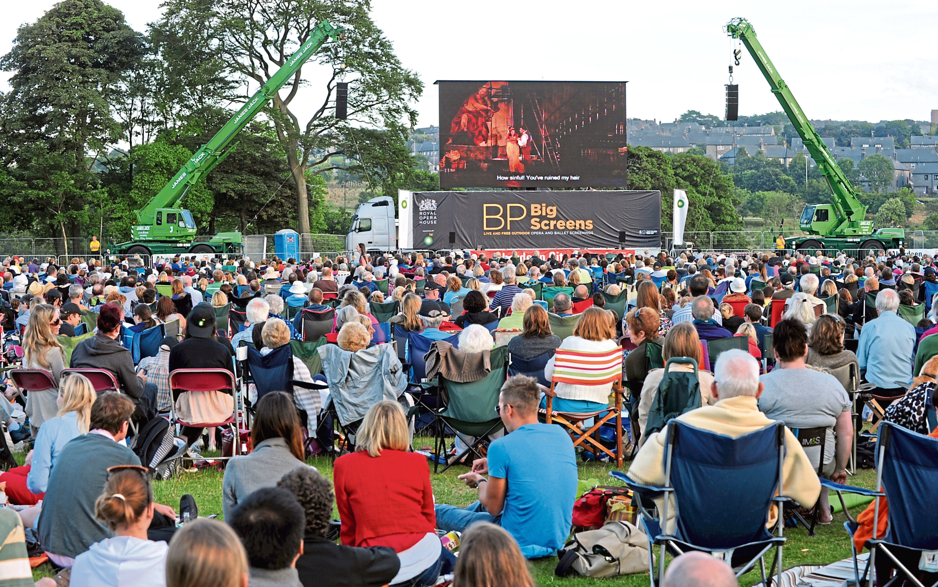 People watching the opera Tosca on the BP Big Screen at Duthie Park last year.