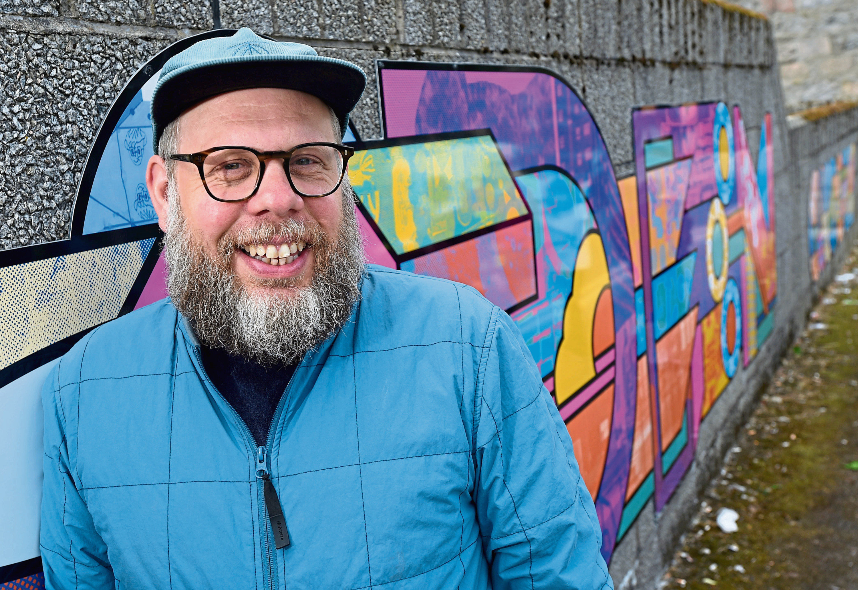 Artist Supermundane, aka Rob Lowe, with his SuperAberdeen mural marking the start of the 2018 Look Again Festival.