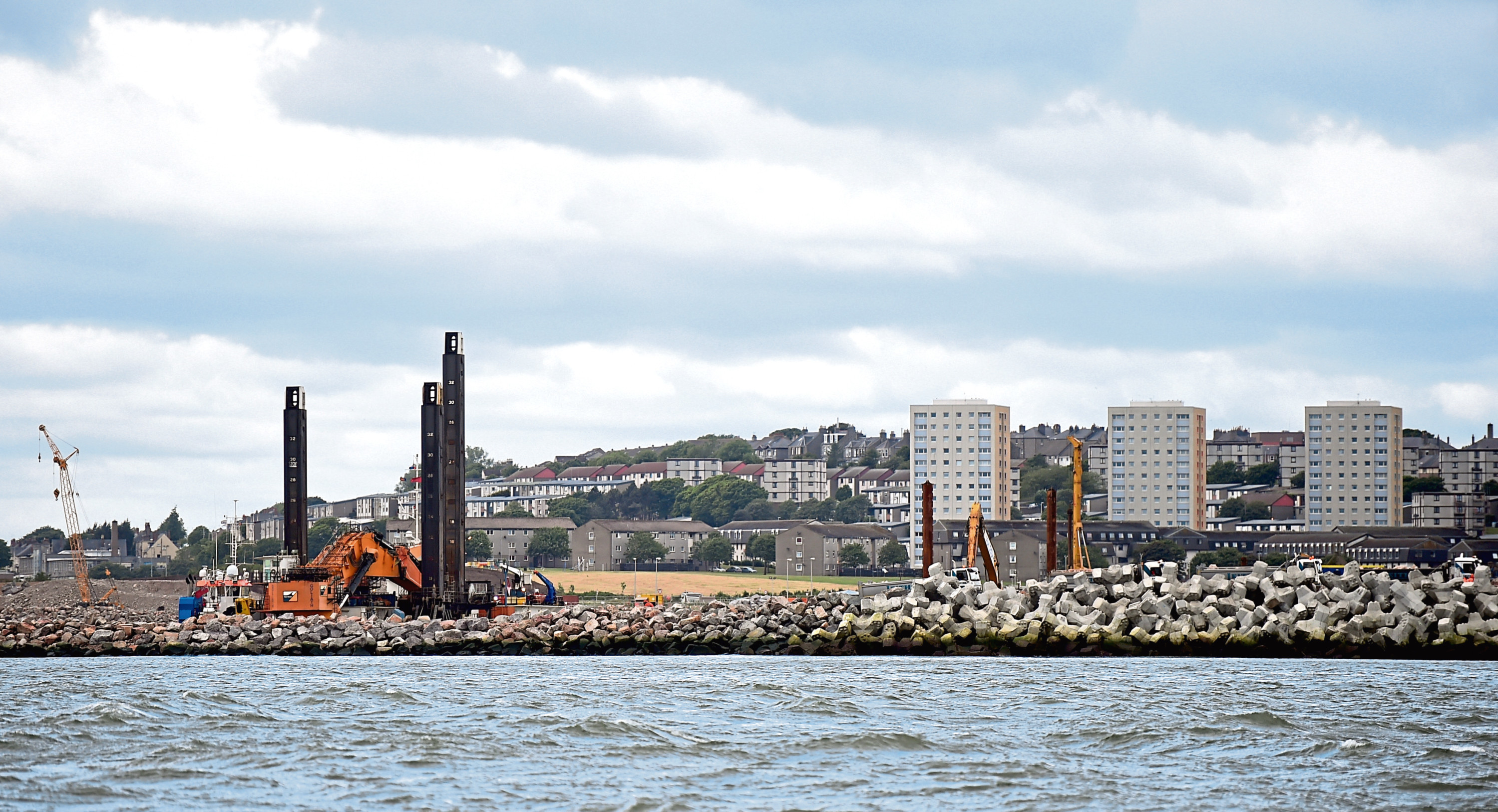 Work is ongoing on the new harbour