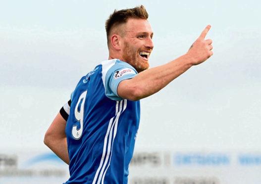 Peterhead's Rory McAllister celebrates his goal