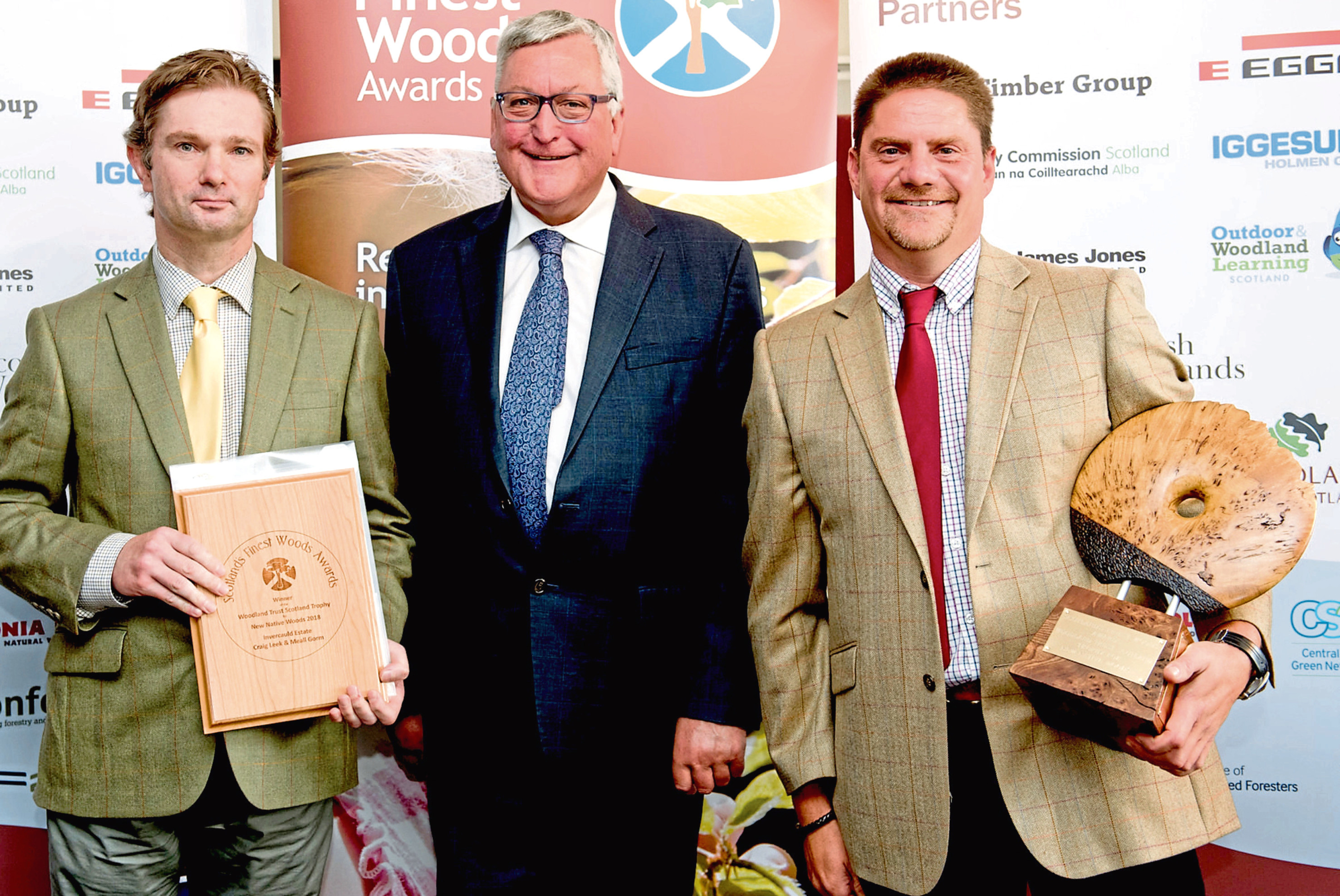 Angus McNicol, Estate Manager and Ian Hill, Forest Manager, with Fergus Ewing
