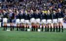 The Scotland U21 team which faced Sweden U21s in the U21 European Championship semi-final first leg at Pittodrie on April 22, 1992 (l to r): Paul Lambert, Michael Watt, Alec Cleland, Stephen Wright, Alex Rae, Brian O'Neil, Alan McLaren, Gerry Crea