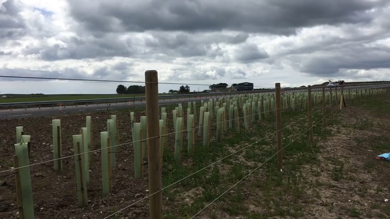 The barrier separating the new dual carriageway from the old A90.