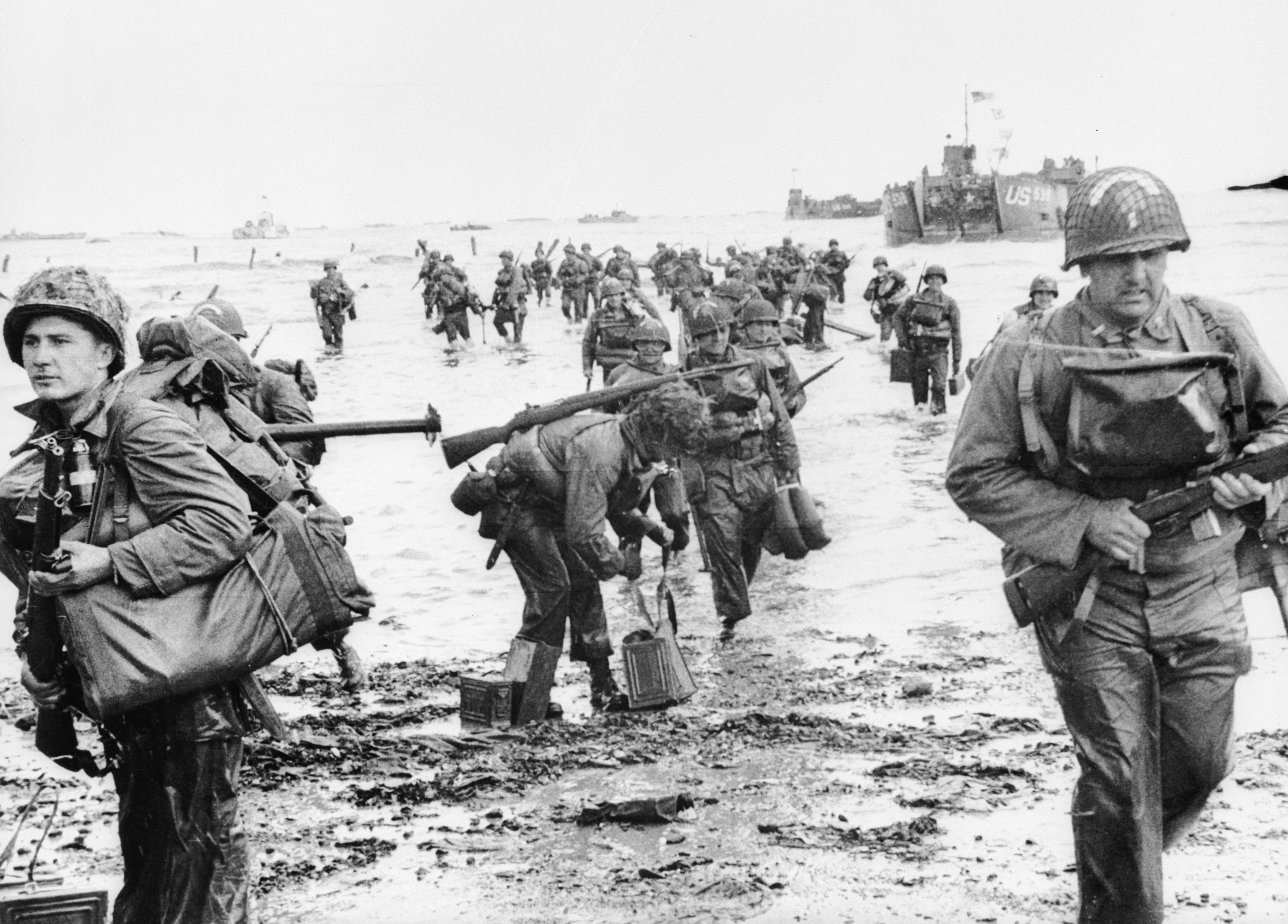 US Assault Troops seen here landing on Omaha beach during the Invasion of Normandy.