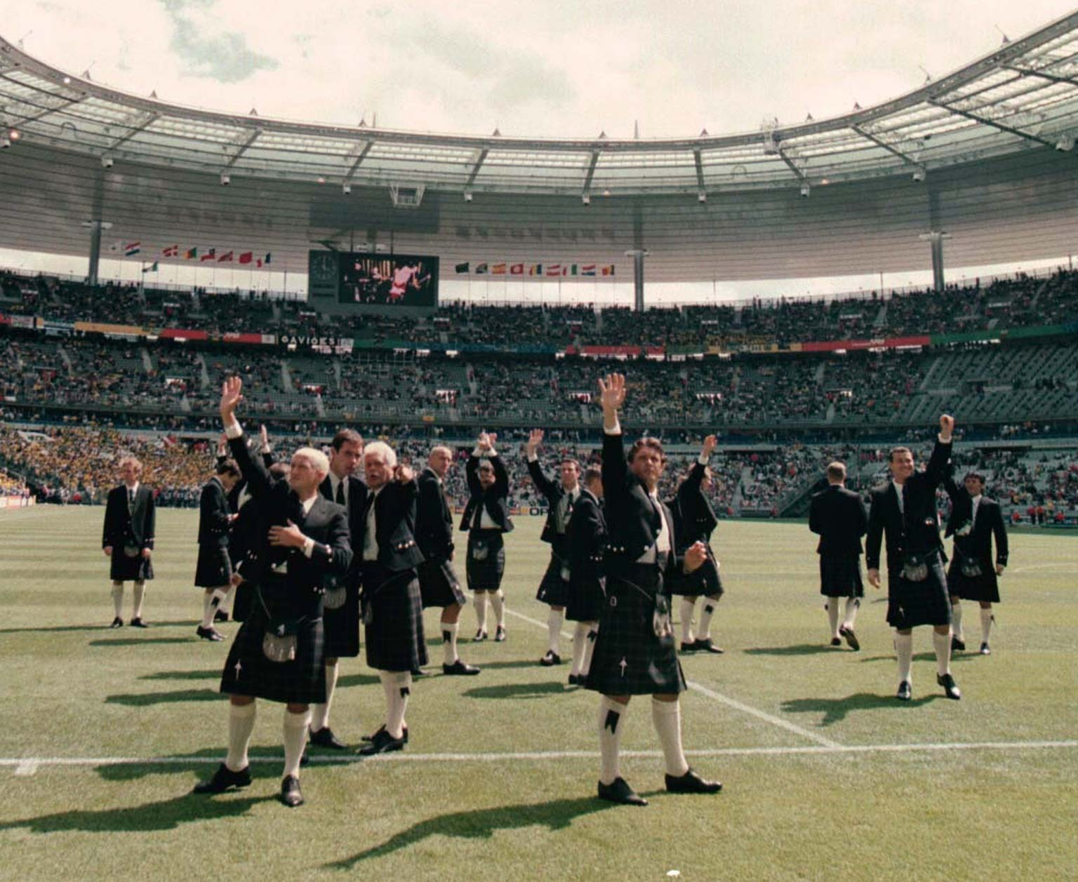 The Scotland squad arrive at the Stade De France for their World Cup match against Brazil.