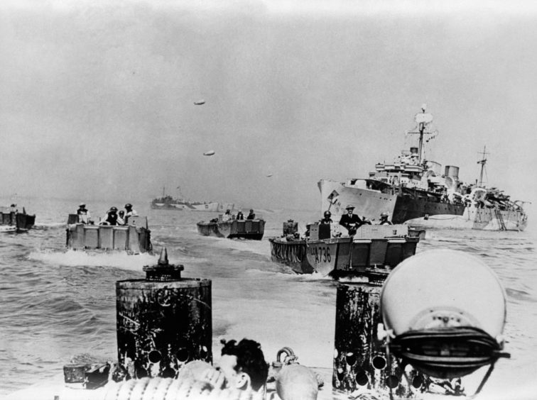 British barges arrive in Normandy.