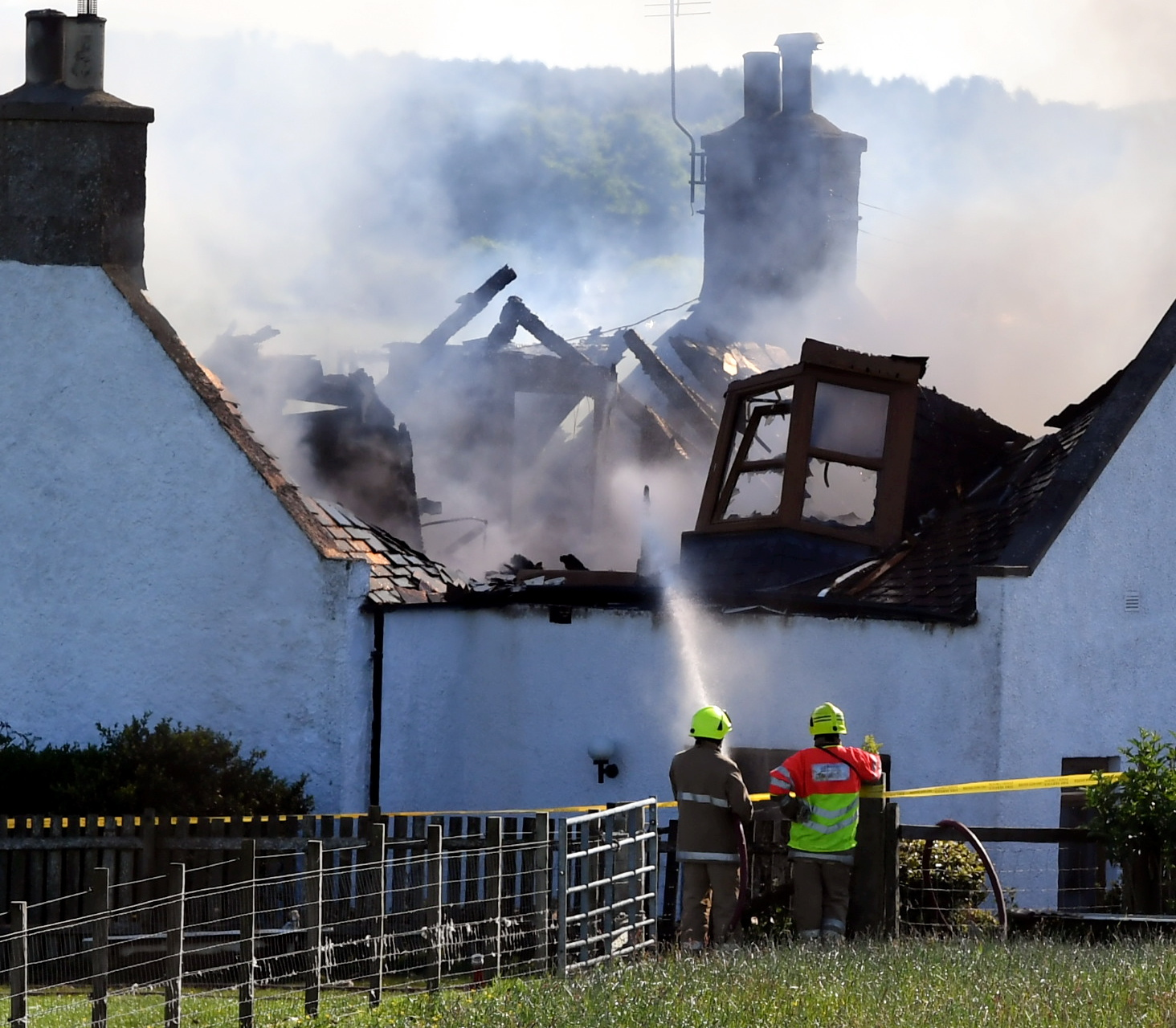 Firefighters are tackling a blaze at a property in Lethenty, near Fyvie