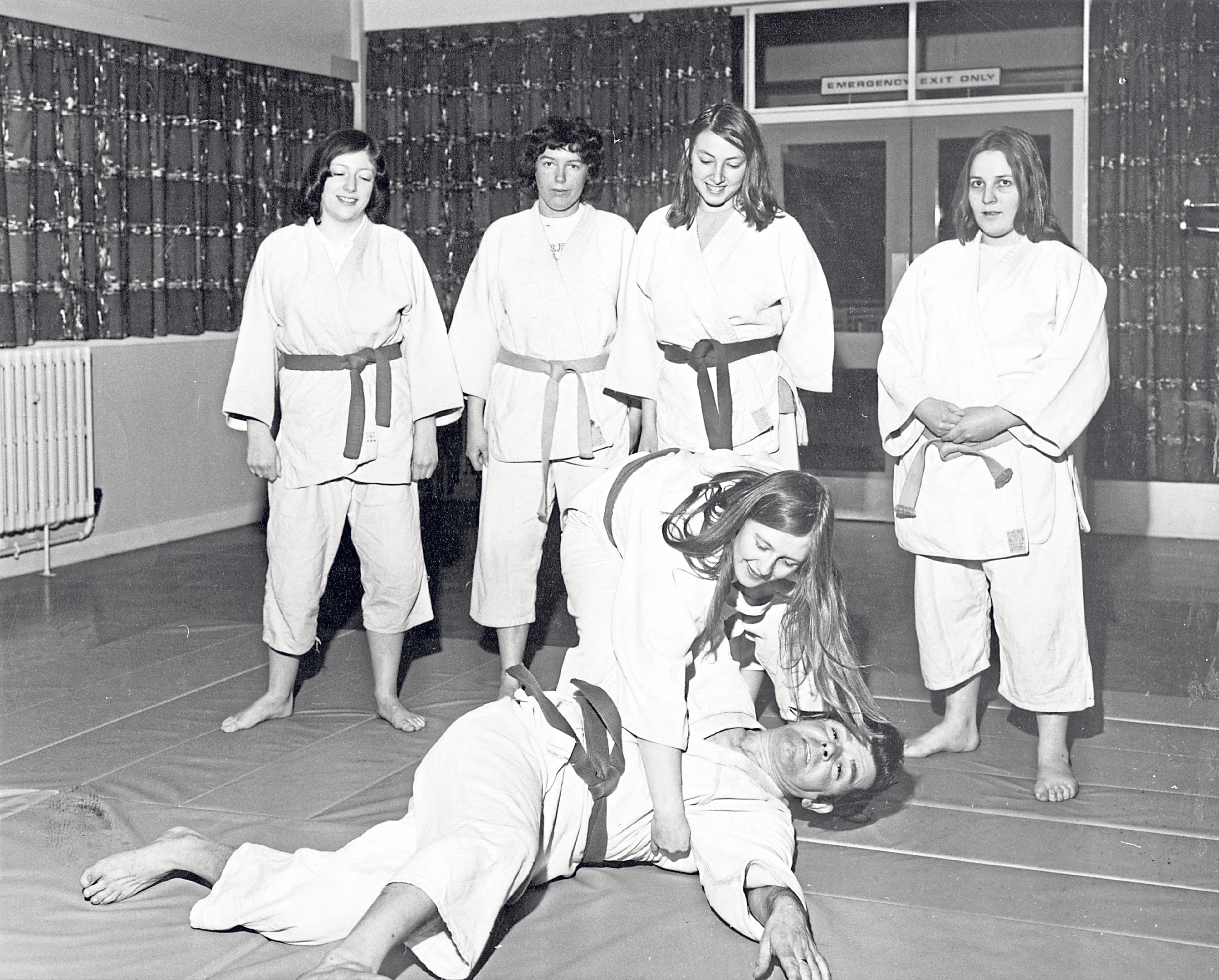 Aberdeen University women's judo team and coach Harry Black