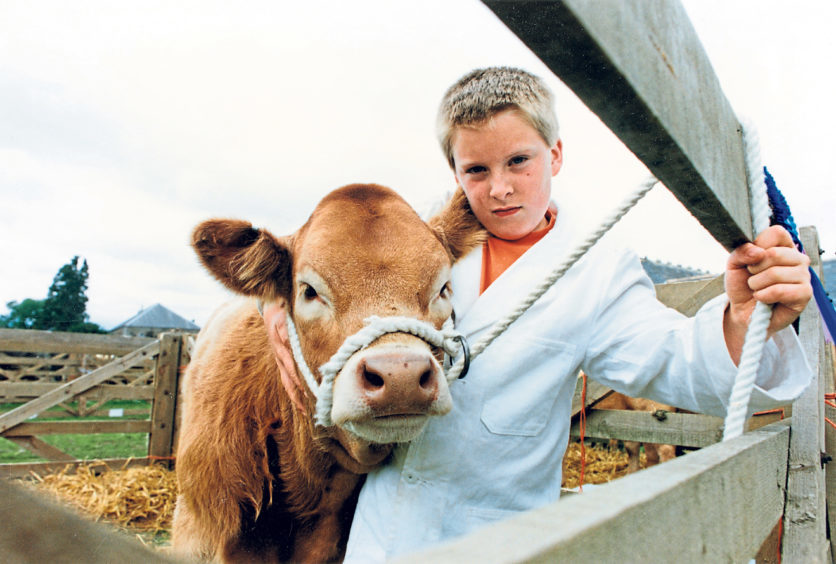 Barry Paterson, 9, of Cairndale Croft, Sauchen, with his pet Limousin cross Charolais calf Betty Boo