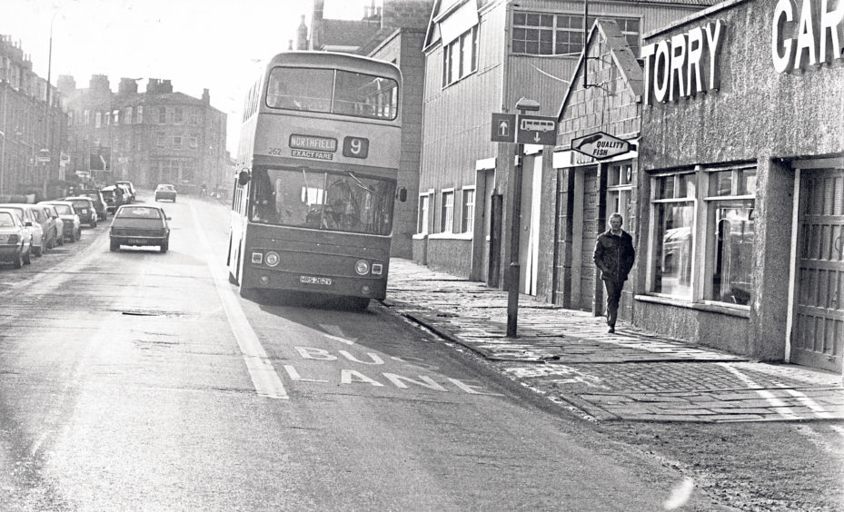 A double-decker to Northfield keeps to the bus lane in Menzies Road