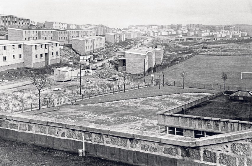 """A view of """"New Torry"""" rising between Tullos School and St Fittick's Road"""