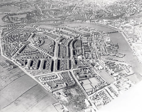 A bird's eye view of Torry showing Victoria Bridge on the right