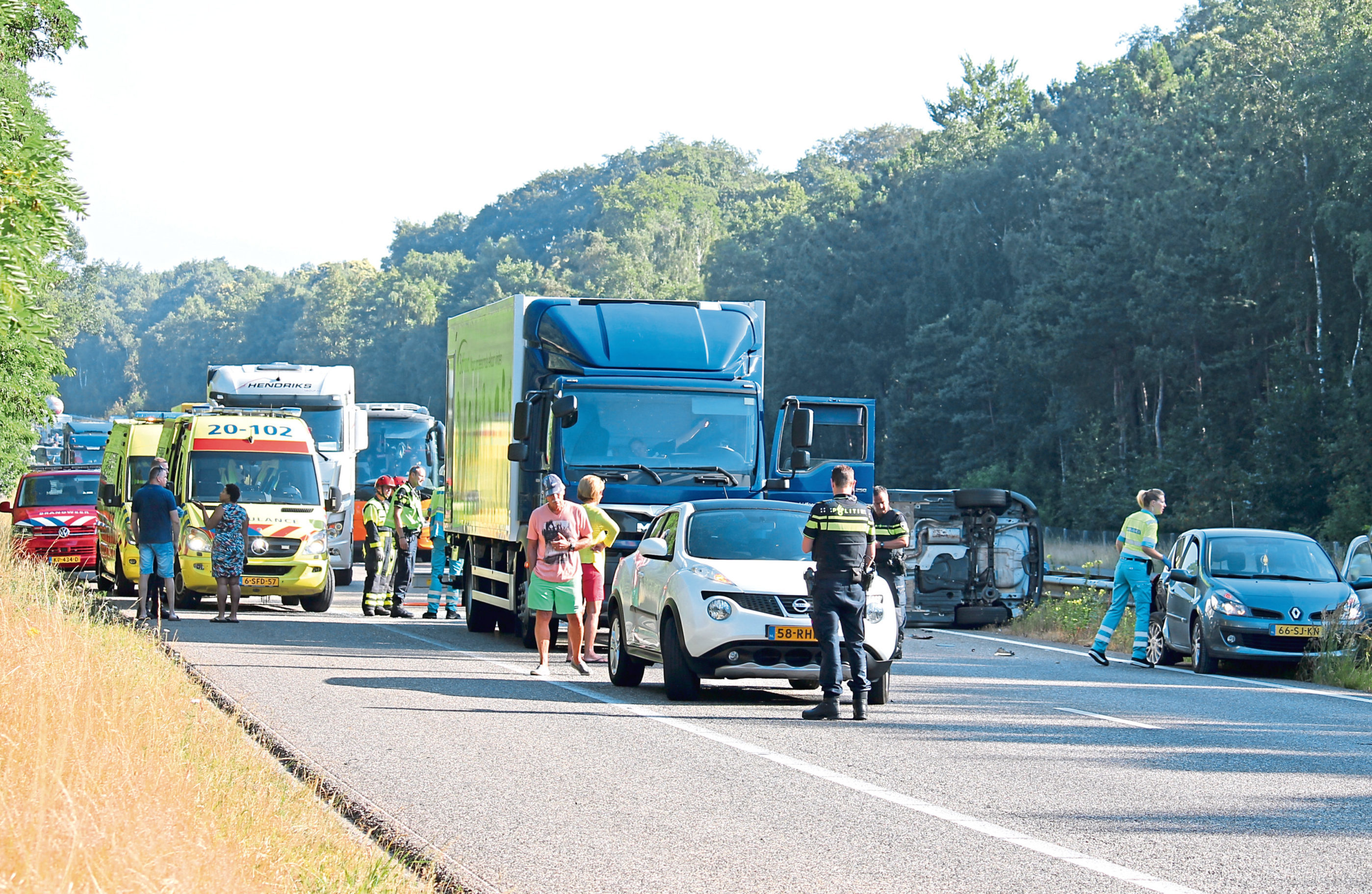 Traffic was brought to a halt by the fatal crash near Hoogerheide in the south-east of the Netherlands