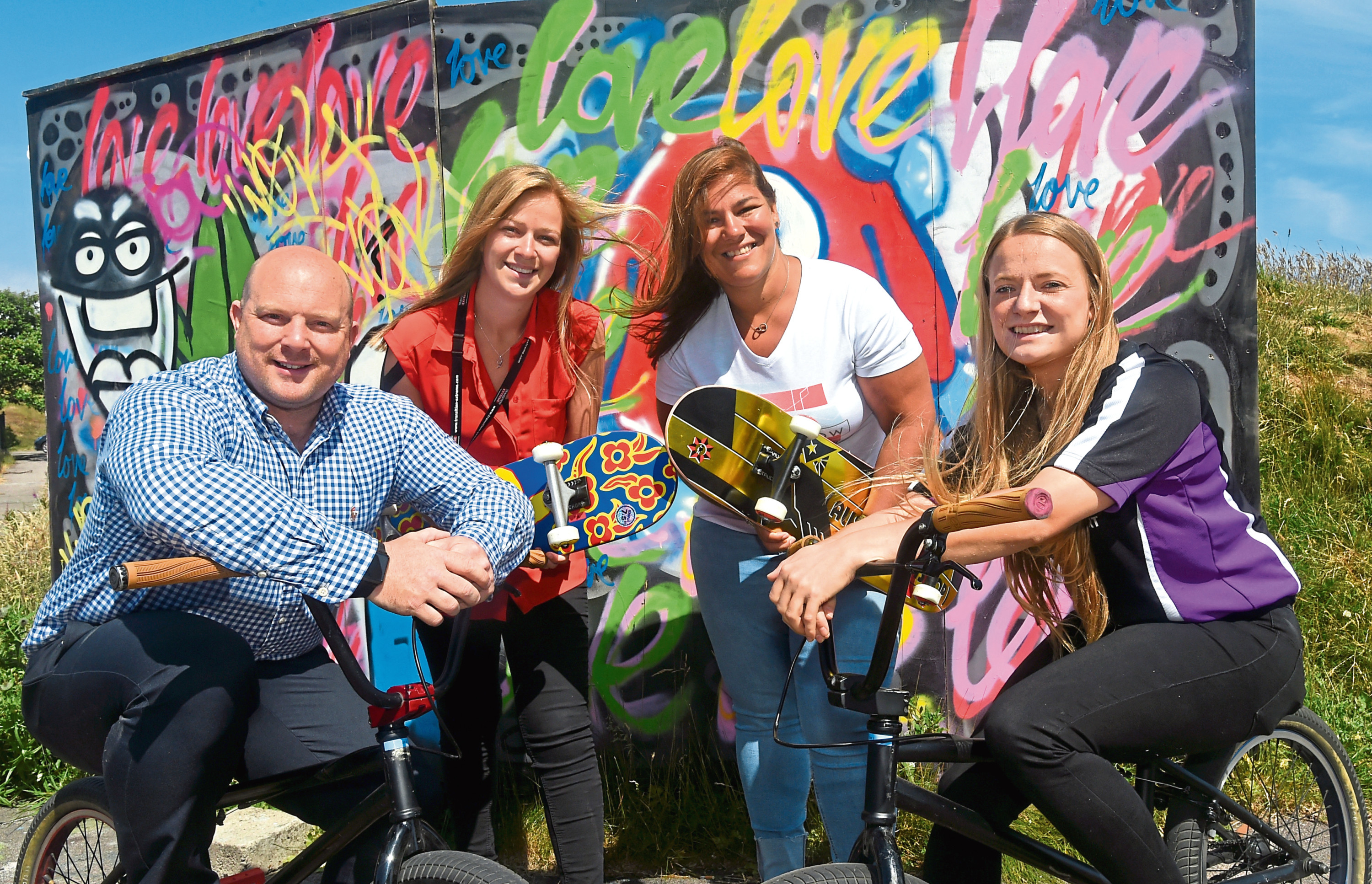 Police are launching a summer activities programme for children aimed at keeping them out of trouble in the school holidays. Pictures at Transition Extreme. Pictured from left, Mark Williams, Chief Operating Officer, Linzi Harrow, Project Coordinator for Transition Extreme and Amanda Montgomery, Early intervention Worker and Hannah Clews, Streetsport co-ordinator. 02/07/18 Picture by HEATHER FOWLIE
