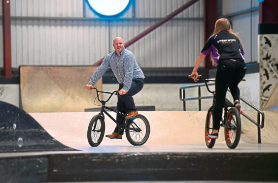 The trust's Mark Williams and Hannah Clews, Streetsport's co-ordinator, getting active as part of the award-winning initiative