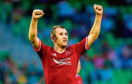 Aberdeen goalscorer Niall McGinn celebrates the 2014 win over Groningen