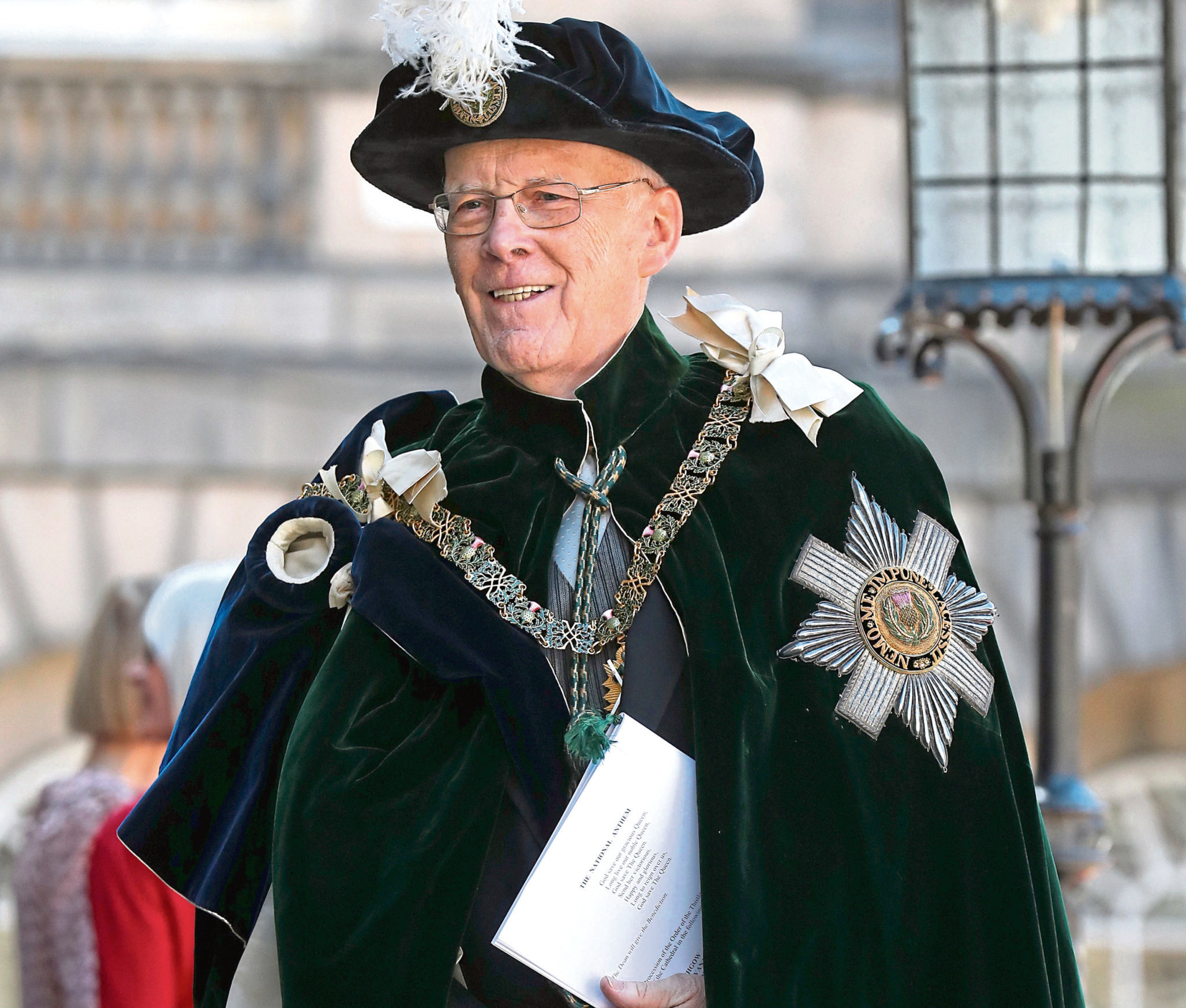 Sir Ian Wood leaves after attending the Order of the Thistle Service at St Giles' Cathedral in Edinburgh.