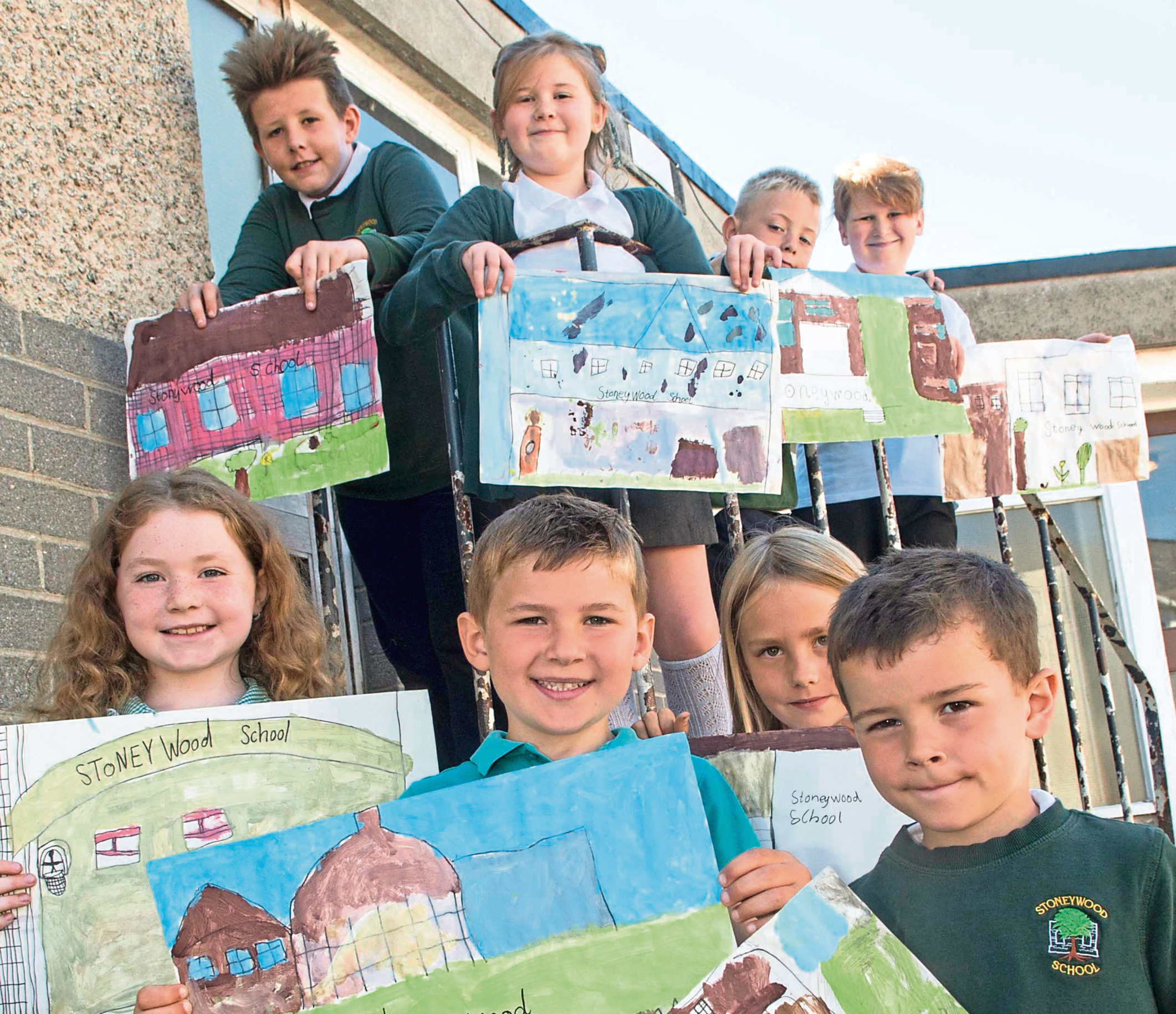 Stoneywood Scool pupils and their designs.  Dylan Currie, Nova Andrew, Adam Booth. Keira Duncan, Aden Robertson, Katie West. Lewis West, Reece Murison,
