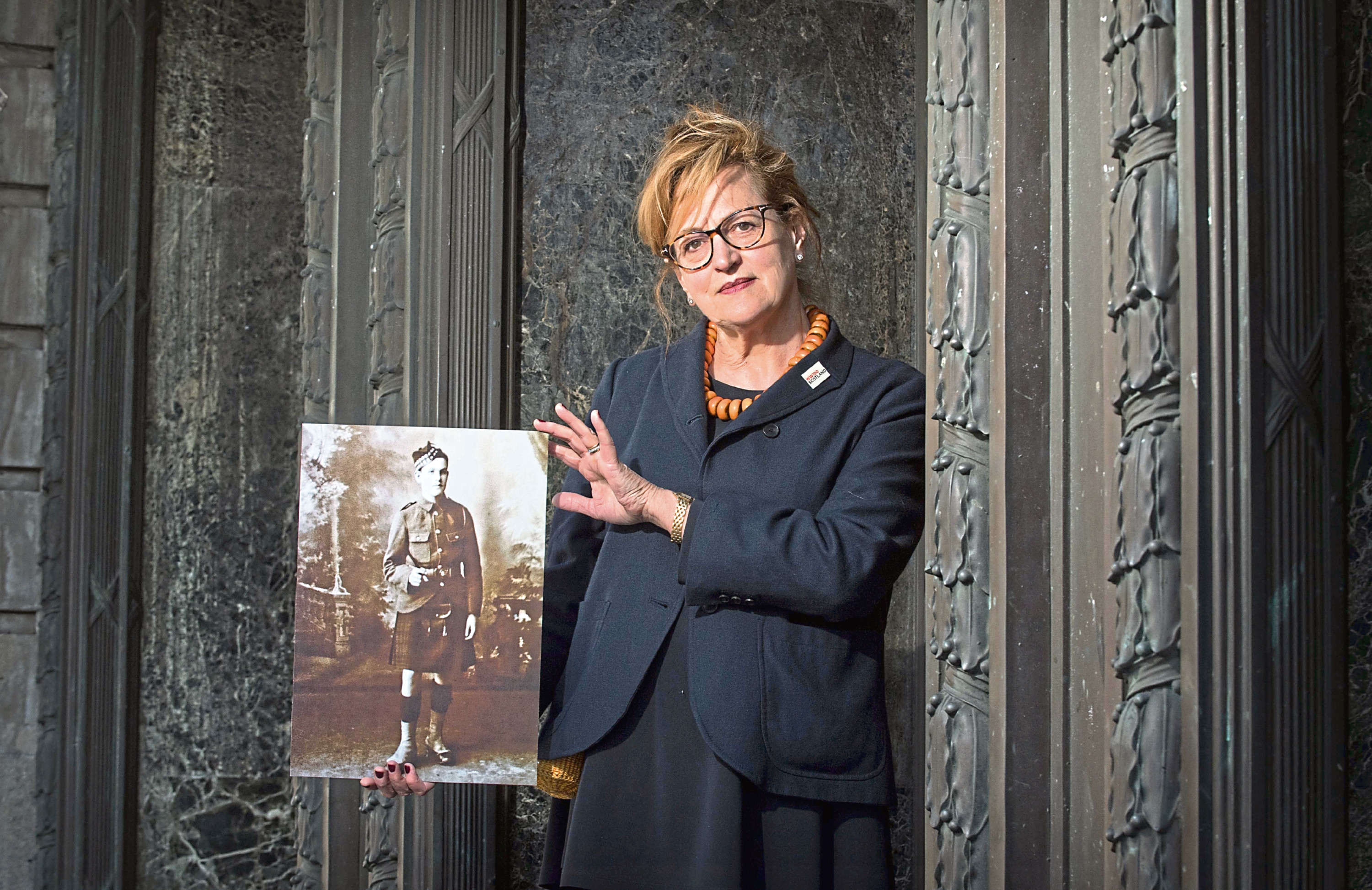 Singer Barbara Dickson with a portrait of her uncle David Dickson who died in the Battle of the Somme