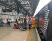 Passengers waiting at Dundee after having to leave the Aberdeen train