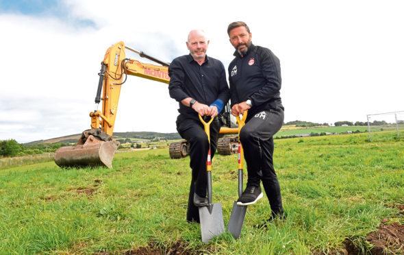 Chairman Stewart Milne and boss Derek McInnes at the Kingsford site