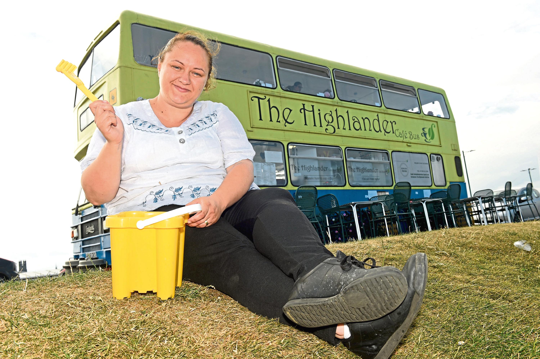 Ramona Obafemi at the Highlander Bus Cafe