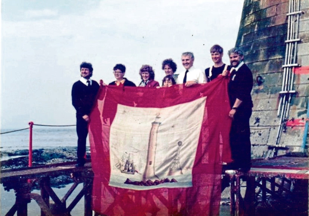 1986: Flag at the Bell Rock for the Lighthouse's 175th Anniversary.