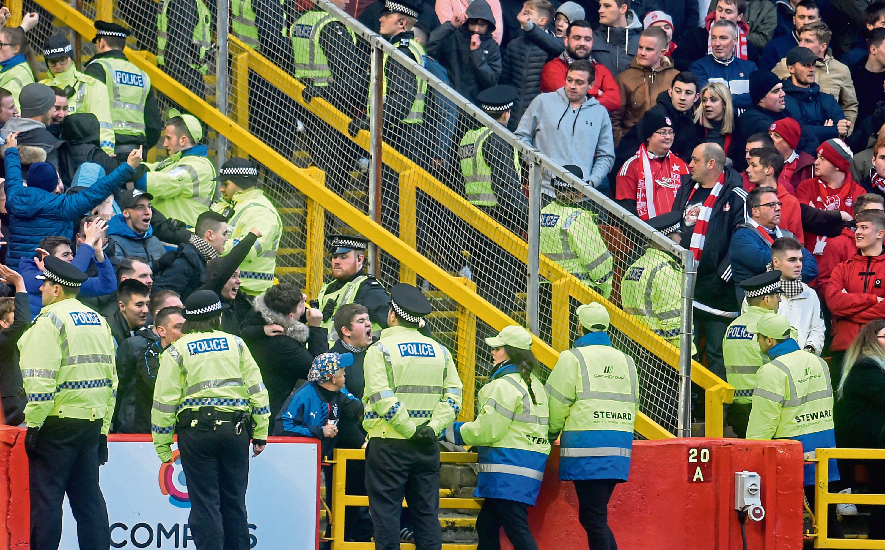 Police at Pittodrie during a match between Aberdeen and Rangers