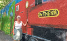 Sheila Gordon with the mural at Seaton Park
