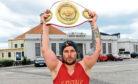 Lee McAllister with the WBU heavyweight belt