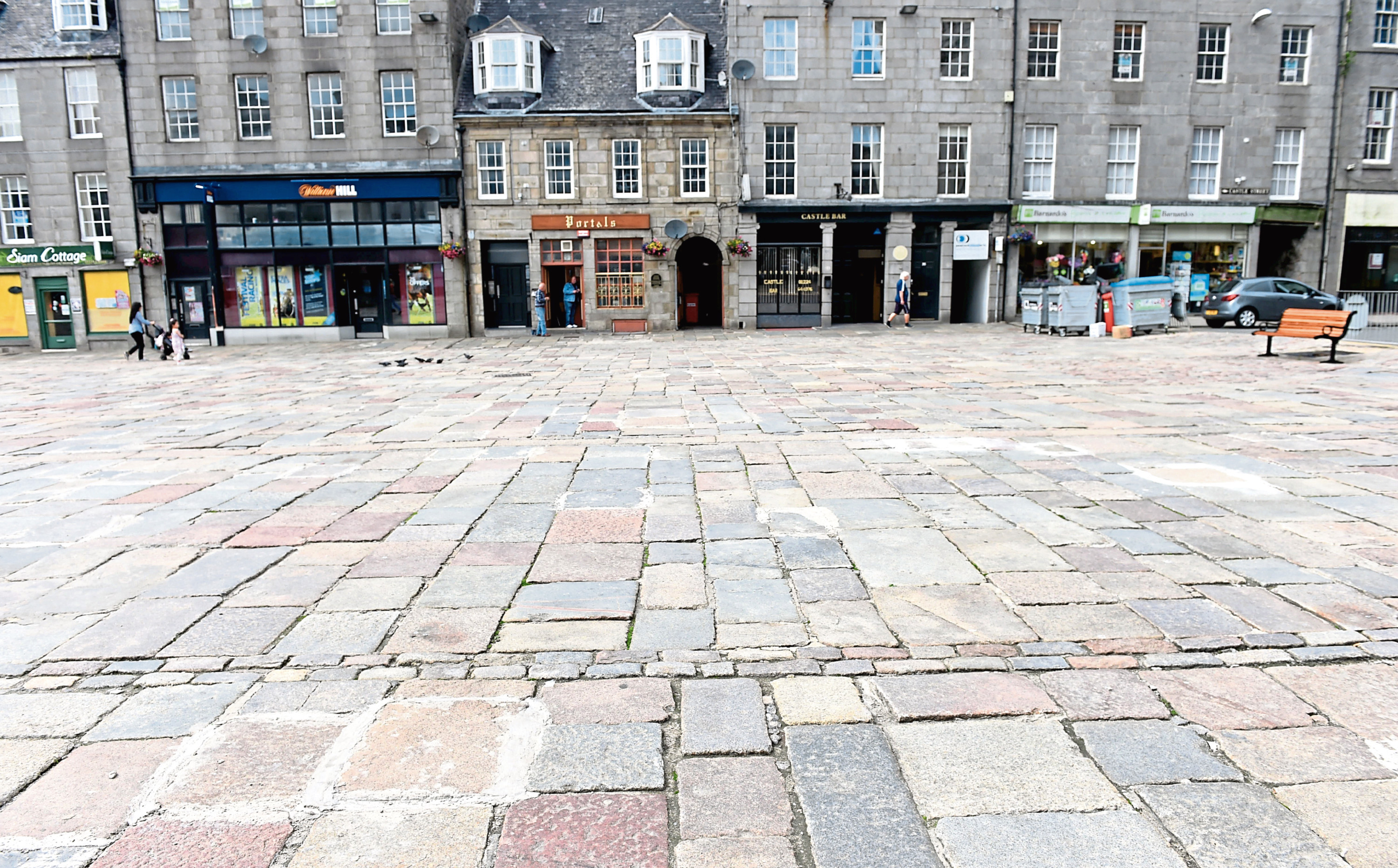 A view of the Castlegate  showing the repaired setts