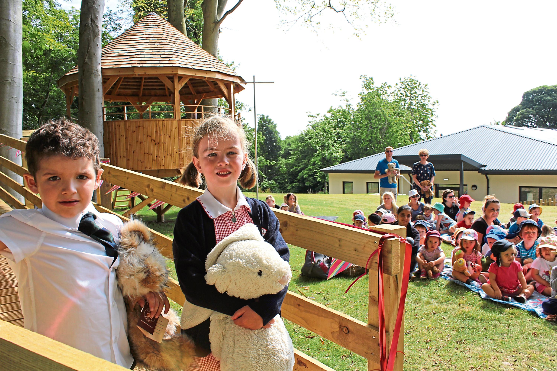 Pupils Harriet Jackson and Brodie Butler-Madden open Lathallan School's new tree house classroom