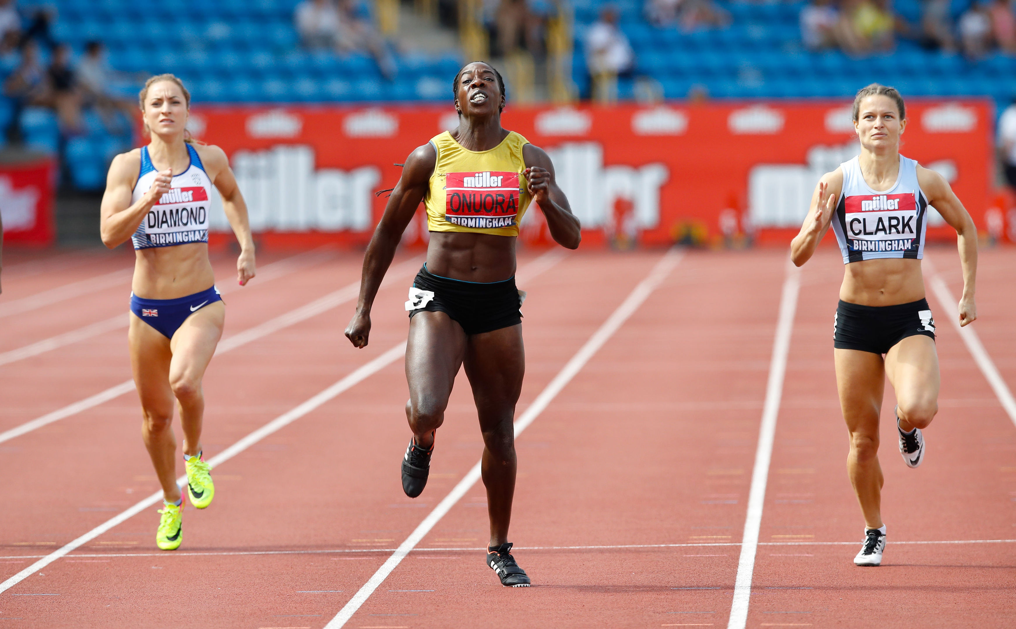Anyika Onuora wins the Women's 400 Metres Final during day two of the Muller British Athletics Championships at Alexander Stadium, with Aberdeen's Zoey Clark, right