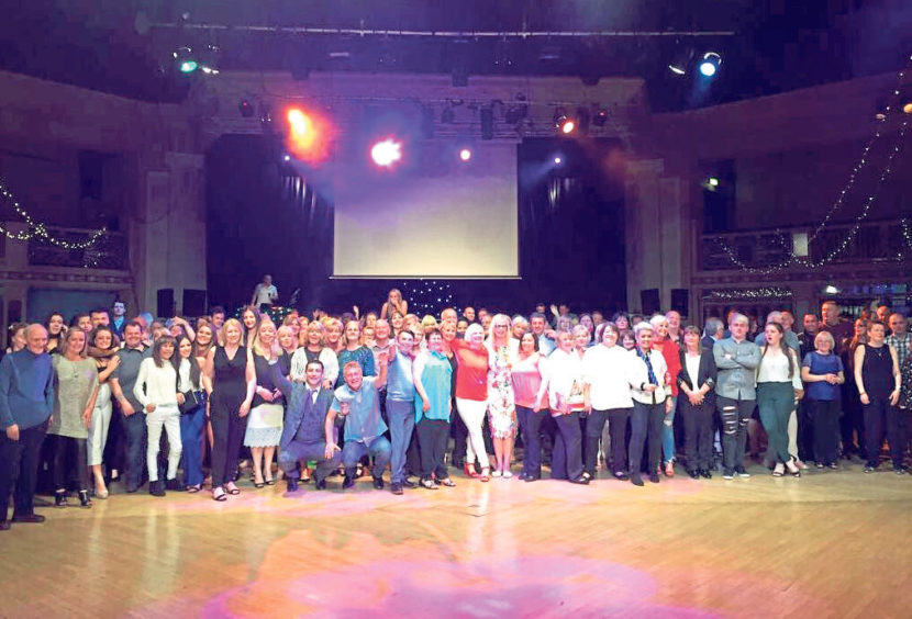 A group photo at the Torry Academy Former Pupils' Disco at the Beach Ballroom