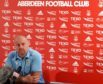 Burnley manager Sean Dyche meets the press at Pittodrie today.