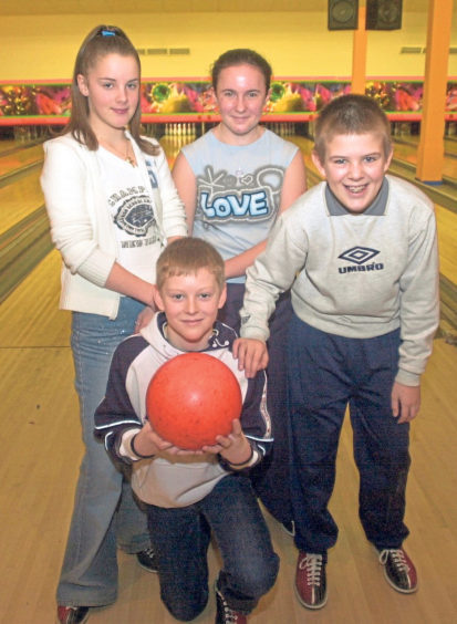 Four pupils from Torry Academy were taking part in the regional final of the Megabowl competition in 2002. Back, from left, Cheryllee Milne and Katrina Thomson and front, from left, Sean Mathers and Steven Reid