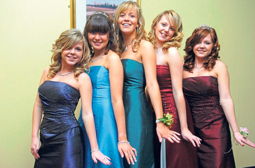 From left, Amy Buchan, Kerry Simpson, Lauren Brady, Emma Griffin and Kayleigh Buchan at the prom at Pittodrie in 2007