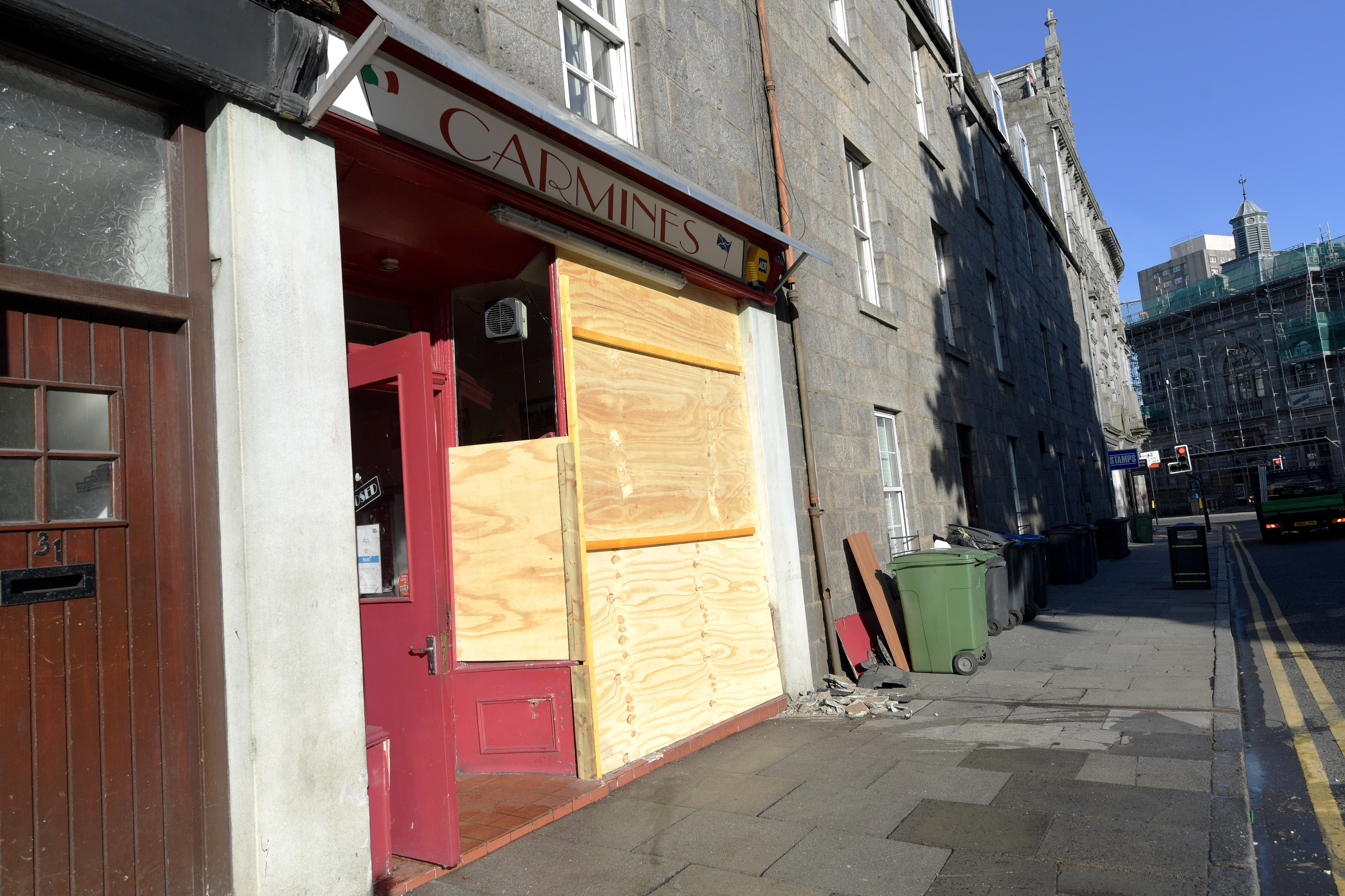 A van crashed into Carmines in the early hours of this morning
